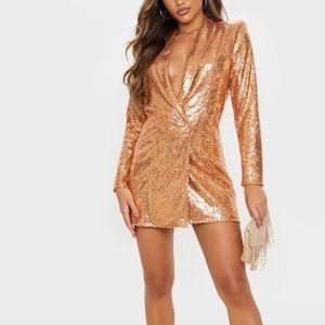 PrettyLittleThing Bronze Sequin Blazer Dress